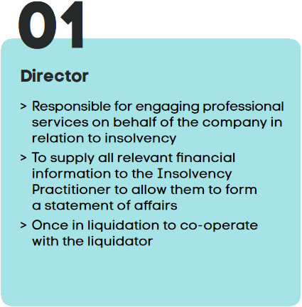 >Responsible for engaging professional services on behalf of the company in relation to insolvency>To supply all relevant financial information to the Insolvency Practitioner to allow them to form a statement of affairs>Once in liquidation to co-operate with the liquidator