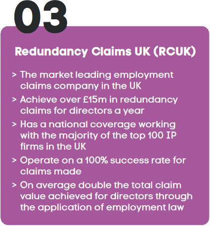 The market leading employment claims company in the UK>Achieve over £15m in redundancy claims for directors a year>Has a national coverage working with the majority of the top 100 IP firms in the UK>Operate on a 100% success rate for claims made>On average double the total claim value achieved for directors through the application of employment law